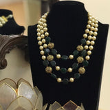 Moti Triple Layered Precious Stone Necklace