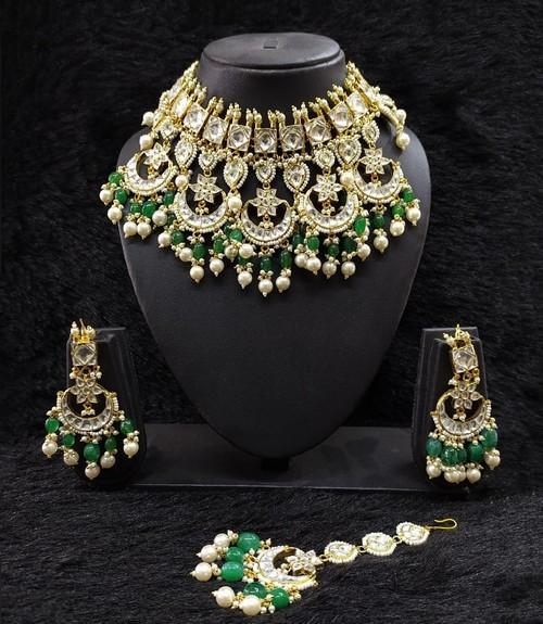 Multi Chandbali Emerald Bridal Set With Teeka