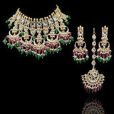 Multi Chandbali Emerald Bridal Necklace Set With Teeka