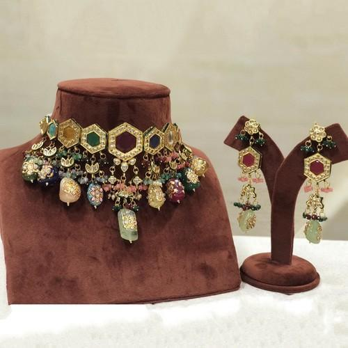 Multi Color Navratna Stone Choker Set