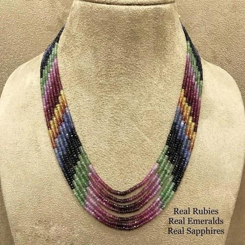 Multi Colored Layered Real Necklace - Ishhaara