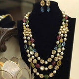 Multi Colored Triple Layered Necklace