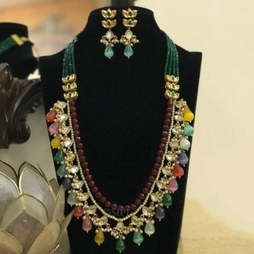 Multi Drop Long Necklace Set
