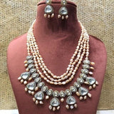 Multi Layered Precious Stone Polki Hanging Necklace - Ishhaara