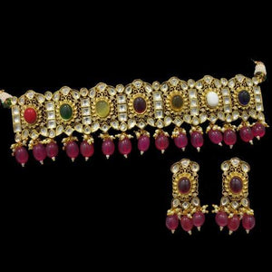 Navratna Anqtique Gold Ruby Drops Set