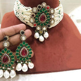 Navratna Pendant Moti Choker Necklace Set
