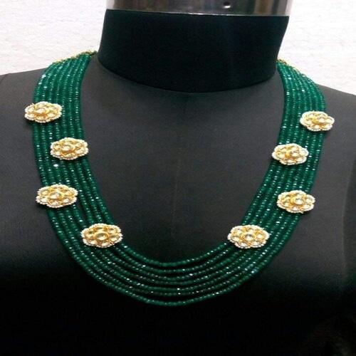 Onyx Necklace With Patchi Kundan Patches - Ishhaara