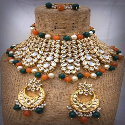 Orange and Green Huge Kundan Necklace