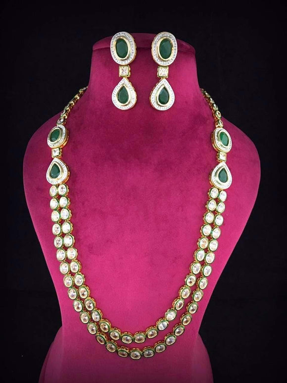 Oval 2 Layered Kundan Necklace - Ishhaara