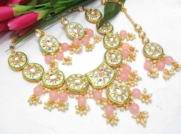 Oval shaped kundan necklace with beads - Ishhaara