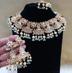 Patchi Kundan Necklace with Light blue - Ishhaara
