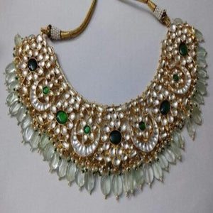 Patchi Kundan Necklace with light green Beads - Ishhaara