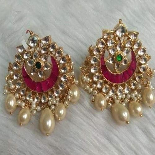 Patchi Kundan Small Chandbali with Pearl Drops - Ishhaara