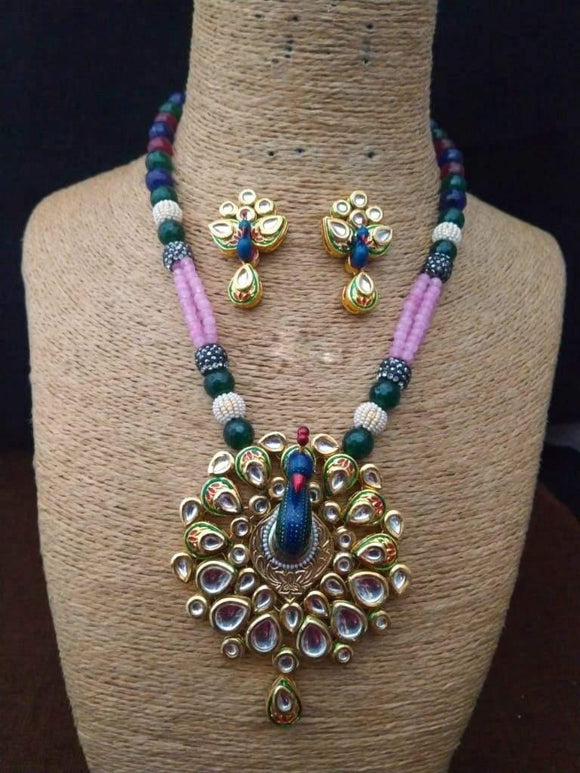 Peacock With Drop Kundan Necklace - Ishhaara