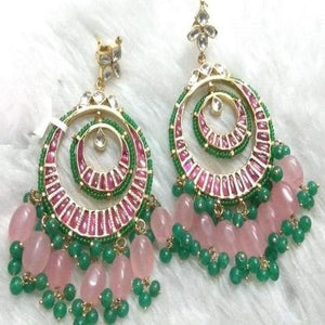 Pink and Green Dual Chandbali - Ishhaara