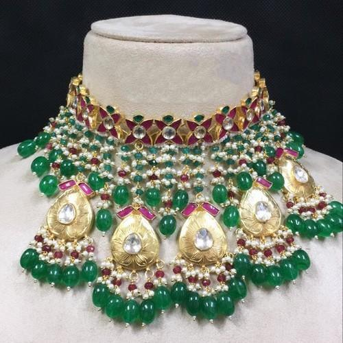 Polki Kundan Tassel Choker with Gold Drops