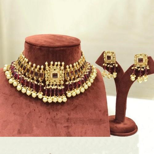 Polki Square Kundan Choker Necklace Set