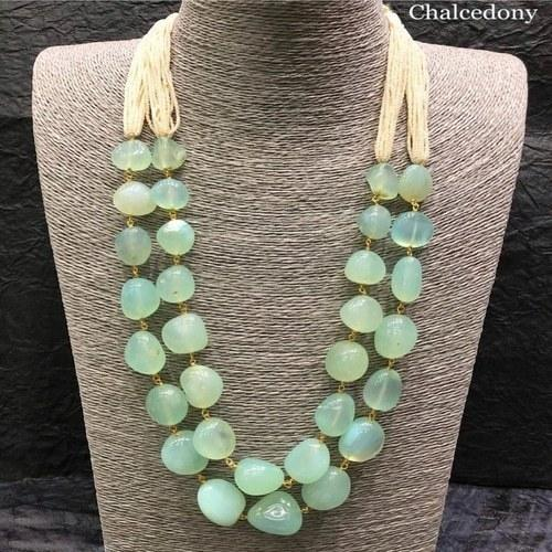 Precious Stone Dual Layered Necklace - Ishhaara