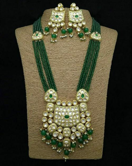 Rectangular Kundan Long Kundan Necklace