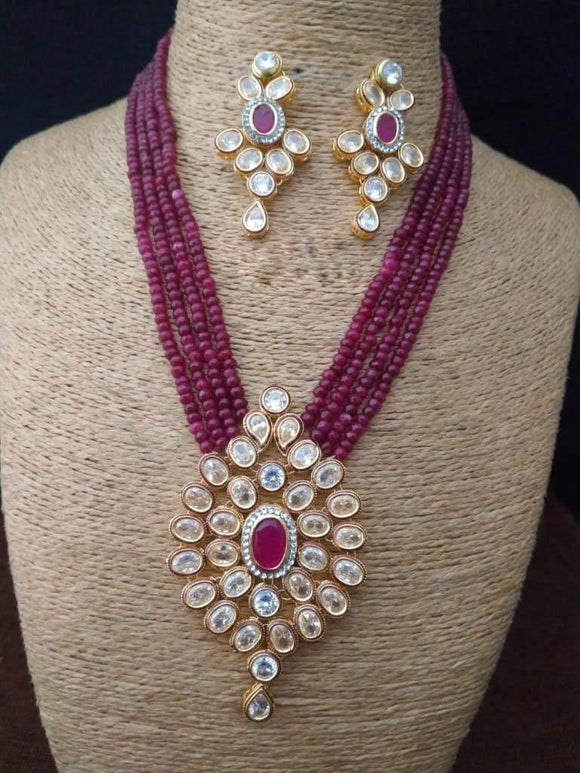 Red Oval Stone Pendant Necklace - Ishhaara