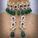 Red Stone Green Beads Necklace