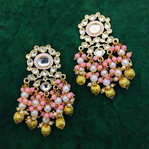 Round Meena Golden Ball Earring