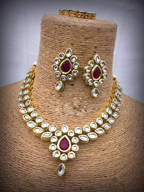 Ruby Drop Shaped Kundan