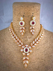Ruby Leaf Shaped Meena Necklace - Ishhaara