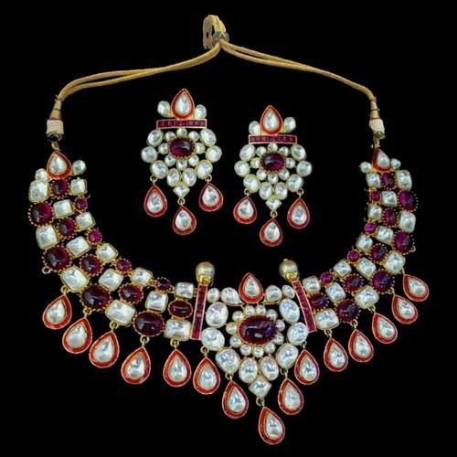 Ruby Stone Red Meena Polki Set
