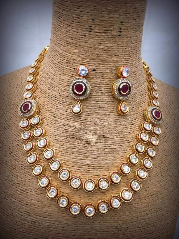 Ruby With Round Kundan Necklace - Ishhaara