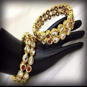 Ruby and White Kundan Bangles - Ishhaara