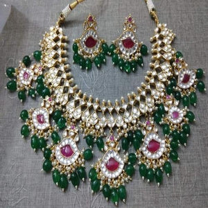 Ruby stone Patchi Kundan with Emerald - Ishhaara