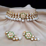 Simple Kundan Flower Necklace - Ishhaara