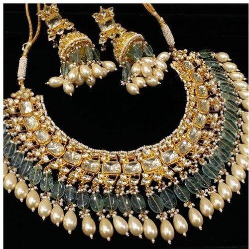 Sea Green Patchi Kundan Necklace - Ishhaara