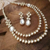 Side Round Kundan 2 Layer Necklace