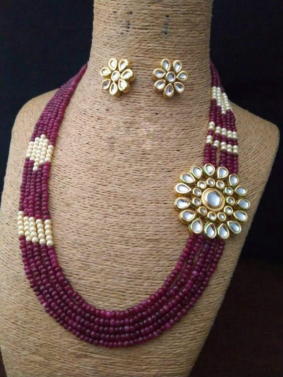 Side flower patched necklace - Ishhaara