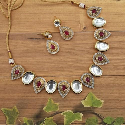 Simple Inverted Leaf Antique Necklace Set