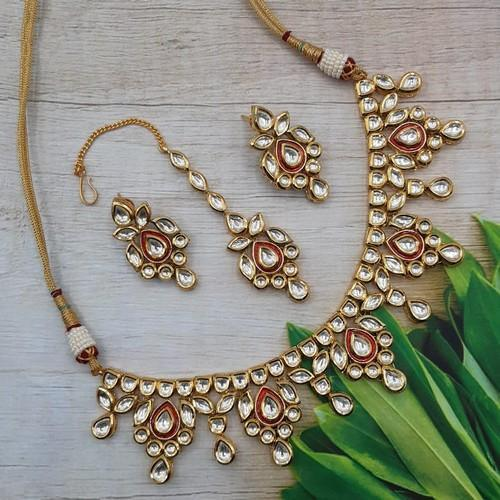 Simple Red Meena Kundan Necklace Set