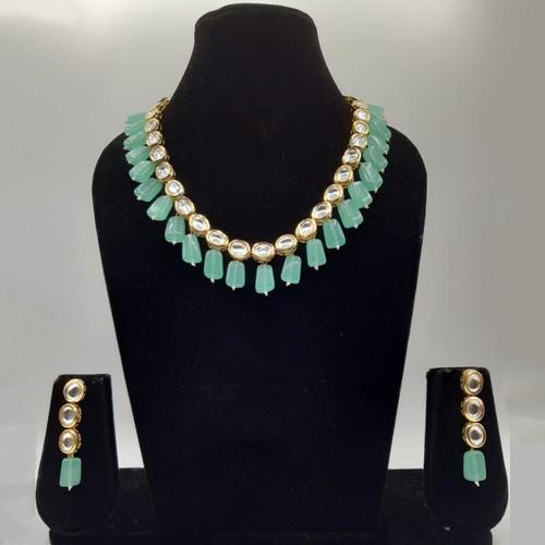 Single Line Kundan Beads Necklace Set