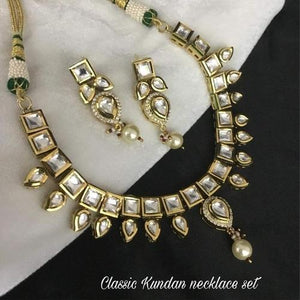 Square Kundan with Drop Hanging
