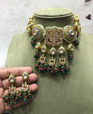 Square Kundan Hand Painted Choker Set