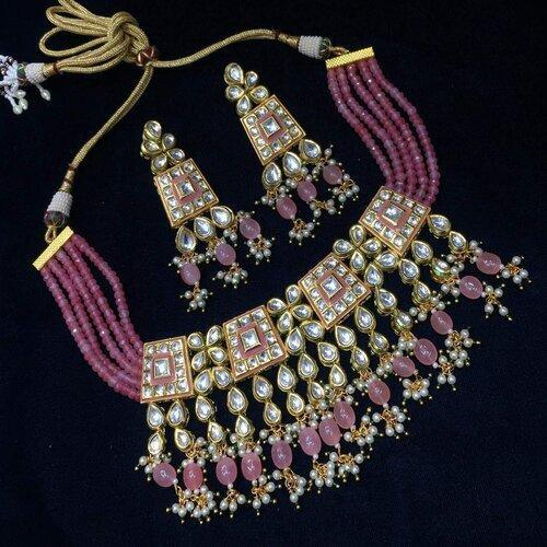 Square Meena Kundan Necklace with Beads - Ishhaara