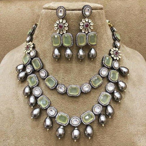 Square Stone Dual Layered Necklace - Ishhaara