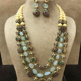 Stone Gunmetal Beads Necklace - Ishhaara