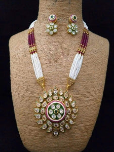 Sun Shaped Meena Pendant Necklace - Ishhaara