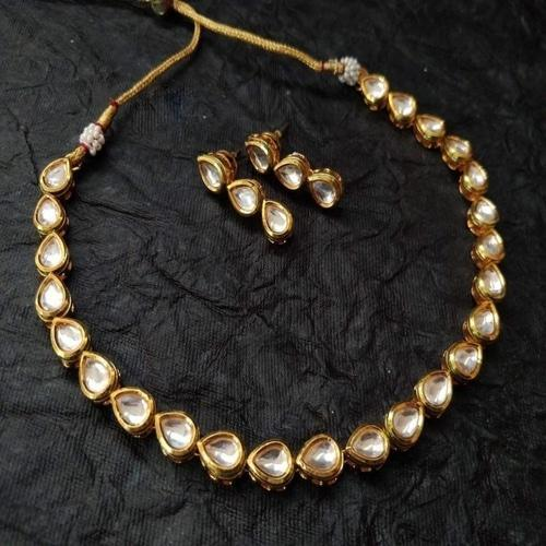 Tear Drop One Line Kundan Necklace