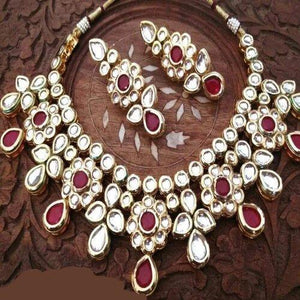 Tear Drop Ruby Kundan Necklace