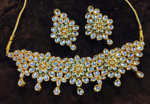 Three Flower Kundan Choker - Ishhaara