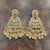 Triangular Moti Earrings