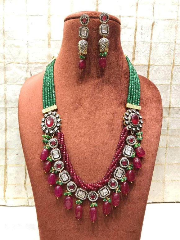 Twisted Color Necklace With White Stone - Ishhaara